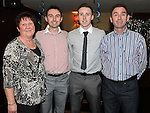 Ronan McEnteggart celebrating his 21st birthday with parents Martin and Anne and brother Brian. Photo: Colin Bell/pressphotos.ie