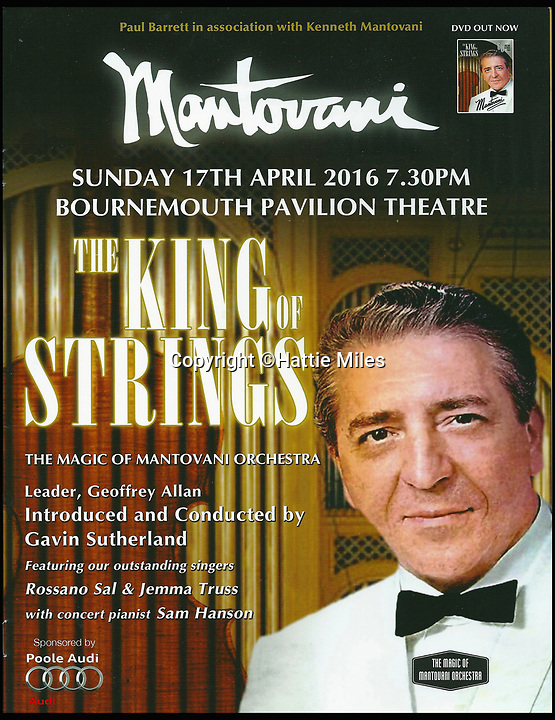 BNPS.co.uk (01202 558833)<br /> Pic: HattieMiles/BNPS<br /> <br /> Pauls 'King of Strings' poster from 2016 - Over 900 people turned out for the concert.<br /> <br /> A retired businessman has spent £26,000 laying on his very own a show in tribute to his hero - the musical maestro Annunzio Paolo Mantovani.<br /> <br /> Paul Barrett, 72, will perform in a 48-piece orchestra he has hired for the performance that he is prepared to make a loss of thousands of pounds on.<br /> <br /> Mr Barrett said he plans to do 'everything bar conducting' in the musical extravaganza being hosted at the Bournemouth Pavilion Theatre in Dorset.