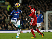 5th November 2017, Goodison Park, Liverpool, England; EPL Premier League Football, Everton versus Watford; Oumar Niasse of Everton controls the ball with his head as Adrian Mariappa of Watford looks on