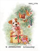 GIORDANO, CHRISTMAS ANIMALS, WEIHNACHTEN TIERE, NAVIDAD ANIMALES, paintings+++++,USGI1778,#XA# dogs,puppies