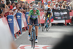 Green Jersey Alejandro Valverde (ESP) Movistar Team loses more time as he crosses the finish line on the final climb of Stage 19 of the La Vuelta 2018, running 154.4km from Lleida to Andorra, Naturlandia, Andorra. 14th September 2018.                   <br /> Picture: Colin Flockton | Cyclefile<br /> <br /> <br /> All photos usage must carry mandatory copyright credit (© Cyclefile | Colin Flockton)