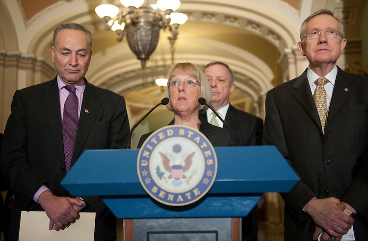 "UNITED STATES - MARCH 1: Sen. Chuck Schumer, D-N.Y., Sen. Patty Murray, D-Wa., Sen. Dick Durbin, D-Il., and Senate Majority Leader Harry Reid, D-Nv., speak to the press after the Senate voted 51 to 48 to reject a controversial amendment that would have overridden the Obama Administration's new contraception coverage rule and allowed any employer to refuse to cover any kind of health care service by citing ""moral reasons."" (Photo By Chris Maddaloni/CQ Roll Call)"