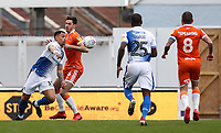 Blackpool's Ben Heneghan competing with Bristol Rovers' Jonson Clarke-Harris <br /> <br /> Photographer Andrew Kearns/CameraSport<br /> <br /> The EFL Sky Bet League Two - Bristol Rovers v Blackpool - Saturday 2nd March 2019 - Memorial Stadium - Bristol<br /> <br /> World Copyright © 2019 CameraSport. All rights reserved. 43 Linden Ave. Countesthorpe. Leicester. England. LE8 5PG - Tel: +44 (0) 116 277 4147 - admin@camerasport.com - www.camerasport.com