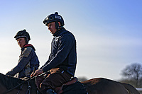 Pictured: Sean Bowen (R) rides a horse in the school. Wednesday 10 January 2018<br /> Re: Peter Bower Racing in Little Newcastle, west Wales, UK.