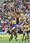 Peter Duggan of Clare in action against Aidan Harte of Galway during their All-Ireland semi-final at Croke Park. Photograph by John Kelly.