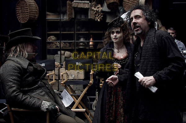 TIMOTHY SPALL, HELENA BONHAM CARTER & TIM BURTON (DIRECTOR).on the set of Sweeney Todd: The Demon Barber of Fleet Street (Sweeney Todd) .*Filmstill - Editorial Use Only*.CAP/FB.Supplied by Capital Pictures.
