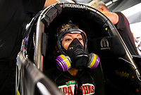 May 5, 2018; Commerce, GA, USA; NHRA top fuel driver Leah Pritchett during qualifying for the Southern Nationals at Atlanta Dragway. Mandatory Credit: Mark J. Rebilas-USA TODAY Sports