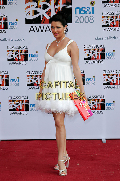 ANNA NETREBKO.Arrivals for the Classical Brit Awards 2008 held at the Royal Albert Hall, London, England, UK..May 8th, 2008.full length white dress red clutch bag fluffy feather trim.CAP/AH.©Adam Houghton/Capital Pictures.