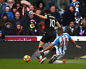 17th March 2018, The John Smiths Stadium, Huddersfield, England; EPL Premier League football, Huddersfield Town versus Crystal Palace; Mathias Zanka Jorgensen of Huddersfield Town brings down Andros Townsend of Crystal Palace for a penalty in the 67th minute
