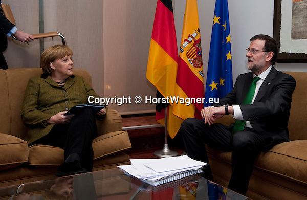 Brussels-Belgium - February 07, 2013 -- European Council, EU-summit meeting of Heads of State / Government; here, Angela MERKEL (le), Federal Chancellor of Germany, with Mariano RAJOY BREY (ri), Prime Minister of Spain, during a bilateral meeting -- Photo: © HorstWagner.eu
