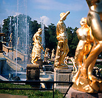 Gold statues and fountains at Pedrovits. Series of images of Leniningrad/St Petersburg Russia 1976