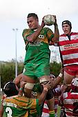 Kolo Vea claims lineout ball ahead of Nicholas Denz. Counties Manukau Club rugby Premier game between Drury and Karaka played at Drury on Saturday May 1st, 2010. Karaka won the game 32 -12 after leading 25 - 7.