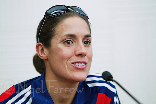 08 SEP 2011 - BEIJING, CHN - Helen Jenkins (GBR) answers a question during the press conference for triathlon's 2011 ITU World Championship Series Grand Final (PHOTO (C) NIGEL FARROW)