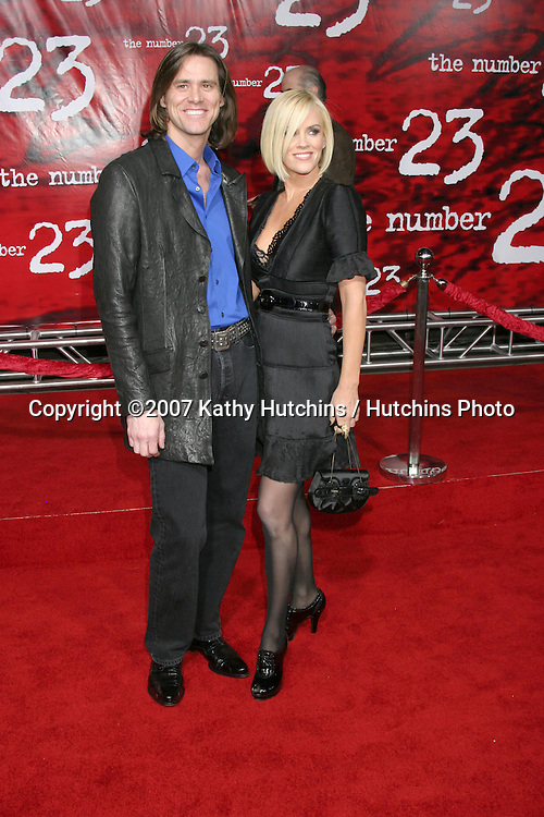 "Jim Carrey & Jenny McCarthy.""The Number 23"" LA Premiere.Orpheum Theater.Los Angeles, CA.February 13, 2007.©2007 Kathy Hutchins / Hutchins Photo.-"