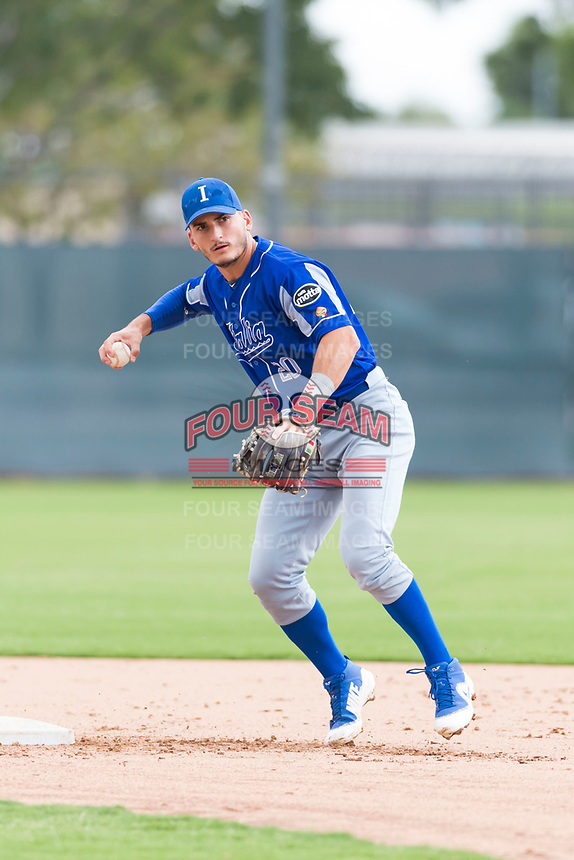 Team Italy infielder Mattia Mercuri (20) warms up before an exhibition game against the Oakland Athletics at Lew Wolff Training Complex on October 3, 2018 in Mesa, Arizona. (Zachary Lucy/Four Seam Images)