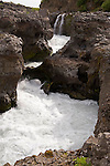 Rocky Gorge and River at Barnafoss Waterfall near Husafell in Iceland