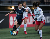 Seattle, WA - Saturday March 24, 2018: Nahomi Kawasumi, Mallory Pugh during a regular season National Women's Soccer League (NWSL) match between the Seattle Reign FC and the Washington Spirit at the UW Medicine Pitch at Memorial Stadium.