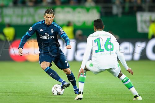 06.04.2016. Wolfsburg, Geramny. UEFA Champions League quarterfinal. VfL Wolfsburg versus Real Madrid. Cristano Ronaldo tskes on Henrique (VfL)