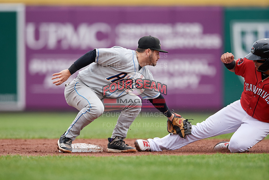 Akron RubberDucks second baseman Tyler Friis (38) tags Isaac Paredes (18) out during an Eastern League game against the Erie SeaWolves on June 2, 2019 at UPMC Park in Erie, Pennsylvania.  Akron defeated Erie 7-2 in the first game of a doubleheader.  (Mike Janes/Four Seam Images)