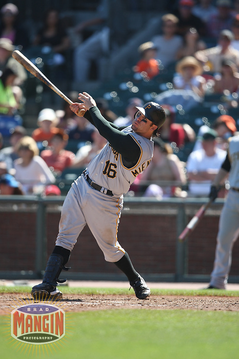 SAN FRANCISCO - SEPTEMBER 7:  Doug Mientkiewicz of the Pittsburgh Pirates bats during the game against the San Francisco Giants at AT&T Park in San Francisco, California on September 7, 2008.  The Giants defeated the Pirates 11-6.  Photo by Brad Mangin