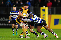 James Phillips of Bristol Rugby is tackled by Beno Obano of Bath Rugby. Aviva Premiership match, between Bath Rugby and Bristol Rugby on November 18, 2016 at the Recreation Ground in Bath, England. Photo by: Patrick Khachfe / Onside Images
