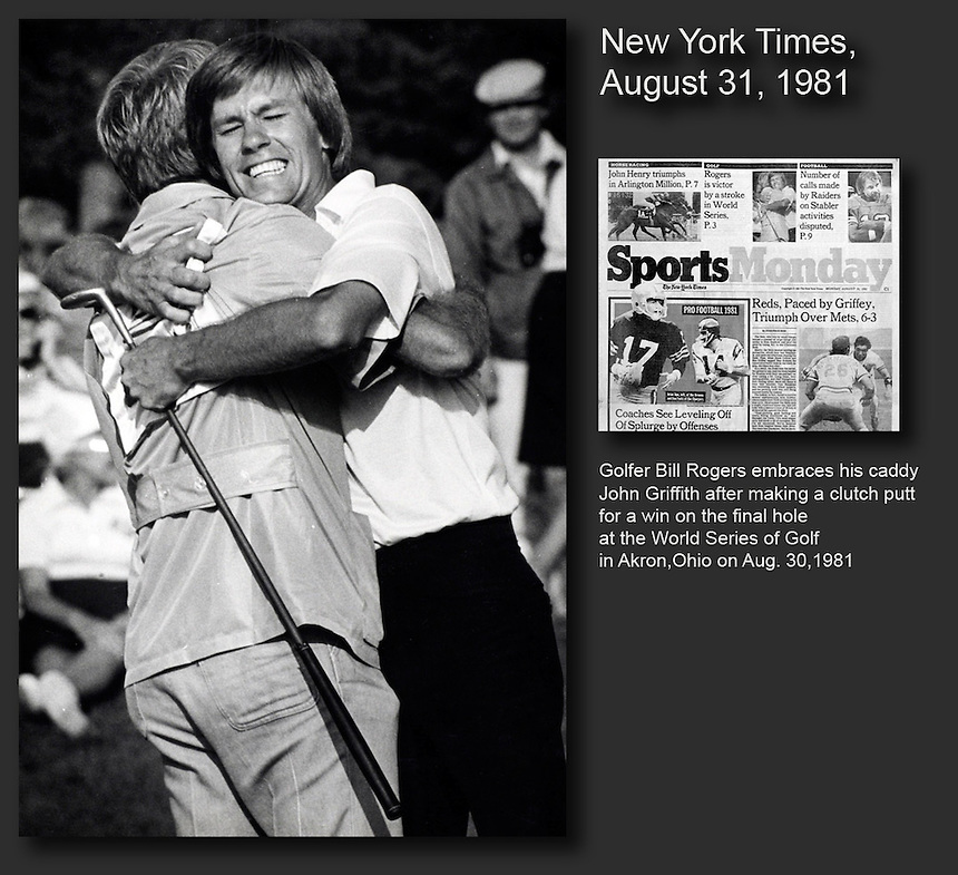 Golfer Bill Rogers embraces his caddy John Griffith after making a final putt to win the World Series of Golf. My photo, taken for Associated Press, made the sports cover of the New York Times.
