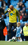 Pablo Zabaleta of Manchester City with this son during the English Premier League match at the Etihad Stadium, Manchester. Picture date: May 13th 2017. Pic credit should read: Simon Bellis/Sportimage