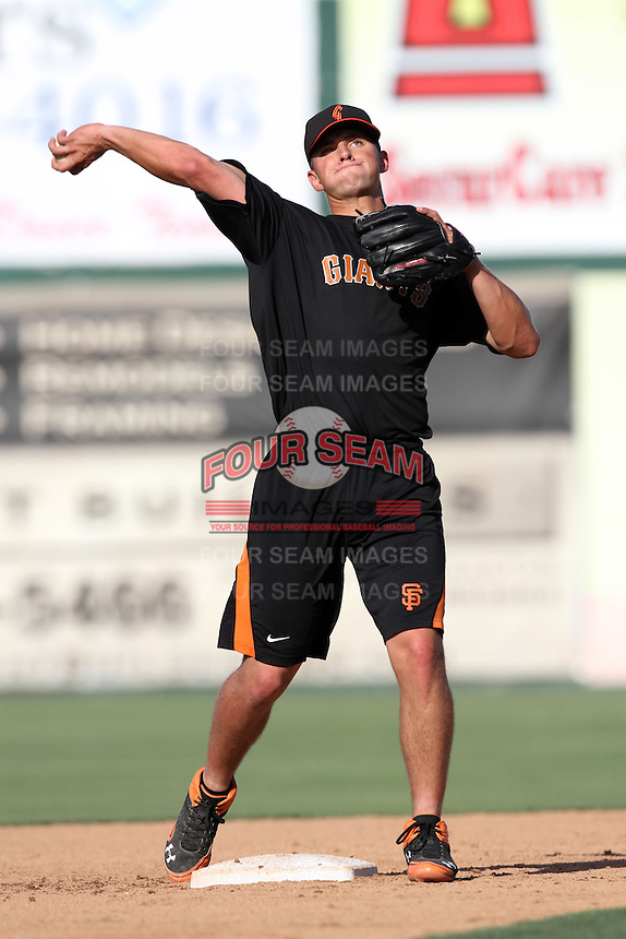 Joe Panik #29 of the San Jose Giants before a game against the Inland Empire 66'ers at San Manuel Stadium on June 11, 2012 in San Bernardino,California.Inland Empire defeated San Jose 12-8.(Larry Goren/Four Seam Images)