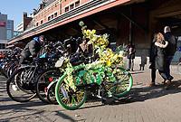 Nederland - Amsterdam -  2019.  Stationsgebied. Lentegevoel in Amsterdam. Fiets van de Flowerbikeman.  Foto Berlinda van Dam Hollandse Hoogte