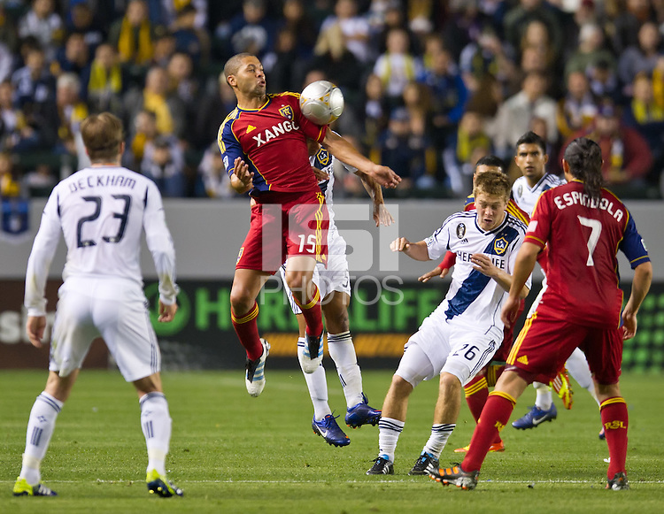 CARSON, CA - March 10,2012: Real Salt Lake forward Alvaro Saborio (15) during the LA Galaxy vs Real Salt Lake match at the Home Depot Center in Carson, California. Final score LA Galaxy 1, Real Salt Lake 3.