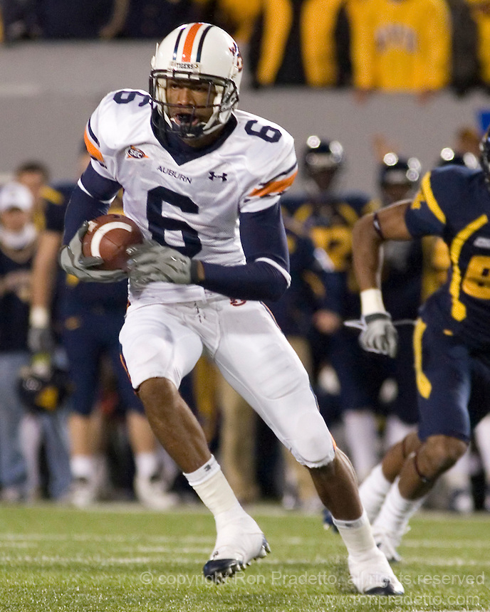 October 23, 2008: Auburn defensive back Walter McFadden (6) runs upfield after an interception. The West Virginia Mountaineers defeated the Auburn Tigers 34-17 on October 23, 2008 at Mountaineer Field, Morgantown, West Virginia.