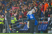 Wales manager Chris Coleman reacts after Panama's late equaliser as their fans celebrate behind him during the International Friendly match between Wales and Panama at the Cardiff City Stadium, Cardiff, Wales on 14 November 2017. Photo by Mark Hawkins.