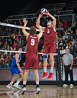 STANFORD, CA - March 2, 2019: Paul Bischoff, Stephen Moye at Maples Pavilion. The Stanford Cardinal defeated BYU 25-20, 25-20, 22-25, 25-21.