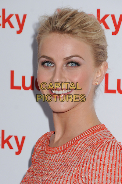Julianne Hough.Lucky Magazine's FABB Cocktail Party held at the SLS Hotel,  Los Angeles, California, USA, 4th April 2013..portrait headshot make-up beauty side hair up  red orange knitted knit top t-shirt smiling .CAP/ADM/BP.©Byron Purvis/AdMedia/Capital Pictures.