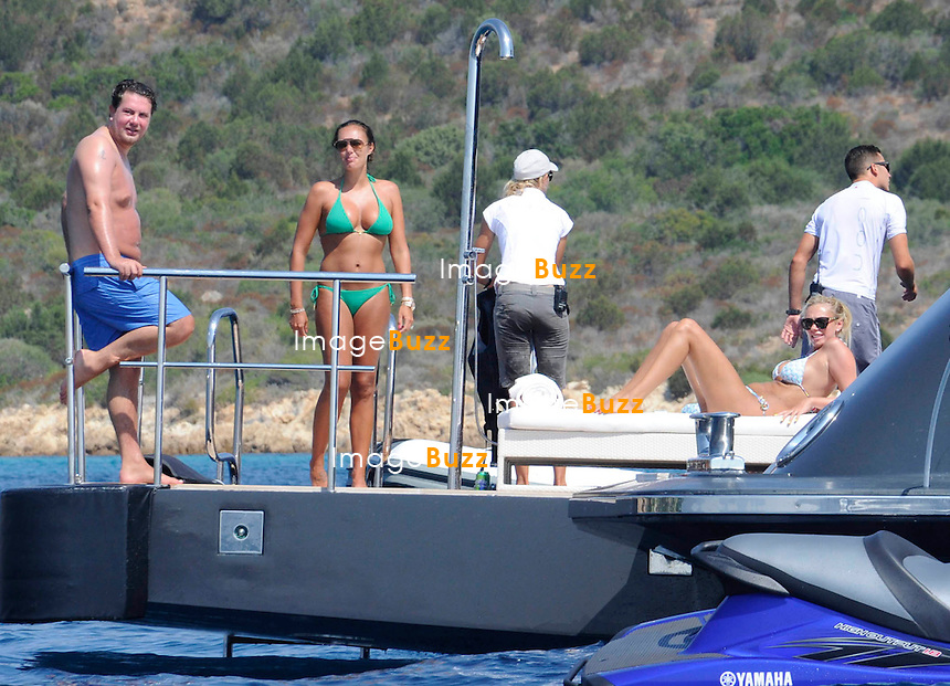 EXCLUSIVE/July 24, 2013-Tamara Ecclestone and husband Jay Rutland vacationing with sister Petra and husband James Stunt with daughter Lavinia, aboard super yacht in Sardinia.