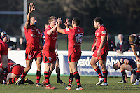 Jersey Reds celebrate victory after the Greene King IPA Championship match between London Scottish Football Club and Jersey at Richmond Athletic Ground, Richmond, United Kingdom on 18 February 2017. Photo by David Horn / PRiME Media Images.