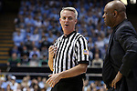 24 January 2015: Referee Brian O'Connell (left) with Florida State head coach Leonard Hamilton (right). The University of North Carolina Tar Heels played the Florida State University Seminoles in an NCAA Division I Men's basketball game at the Dean E. Smith Center in Chapel Hill, North Carolina. UNC won the game 78-74.