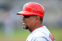 St. Louis Cardinals coach Jose Oquendo #11 before a Spring Training game against the Houston Astros at Osceola County Stadium on March 1, 2013 in Kissimmee, Florida.  The game ended in a tie at 8-8.  (Mike Janes/Four Seam Images)