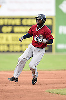 Mahoning Valley Scrappers outfielder D'vone McClure (1) running the bases during a game against the Batavia Muckdogs on June 22, 2015 at Dwyer Stadium in Batavia, New York.  Mahoning Valley defeated Batavia 15-11.  (Mike Janes/Four Seam Images)