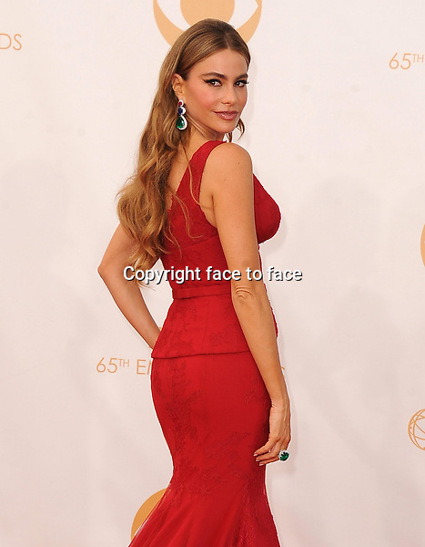 Sofia Vergara arrives at the 65th Primetime Emmy Awards at Nokia Theatre on Sunday Sept. 22, 2013, in Los Angeles.<br />