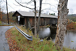 at Van Tran Flat (Livingston Manor) Covered Bridge, that carries Covered Bridge Road, over the Willowemoc Creek, north of Livingston Manor, NY, on Thursday, October 23, 2014. Photo by Jim Peppler. Copyright Jim Peppler 2014.