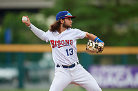 Buffalo Bisons shortstop Bo Bichette (13) throws to first base during an International League game against the Norfolk Tides on June 21, 2019 at Sahlen Field in Buffalo, New York.  Buffalo defeated Norfolk 2-1, the first game of a doubleheader.  (Mike Janes/Four Seam Images)