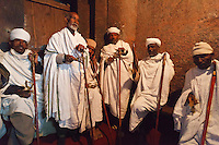 In Lalibela, Ethiopia, early in the morning, before the Timkat celebrations, the priests sing the sacre songs