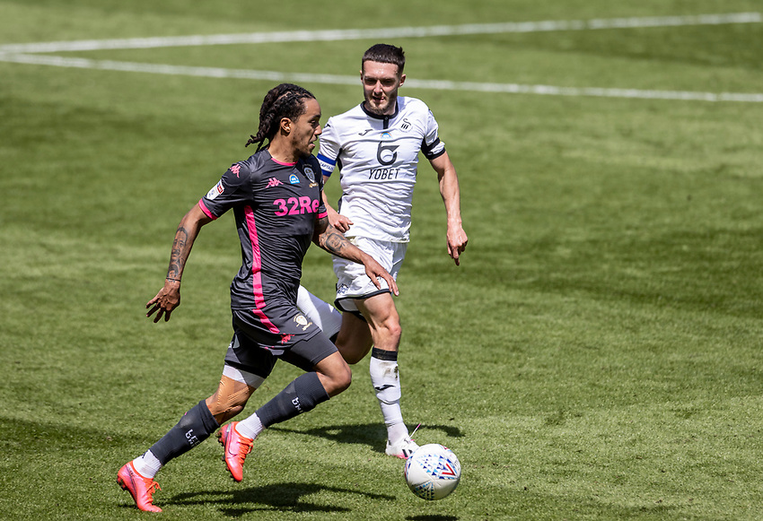 Leeds United's Helder Costa (left) breaks<br /> <br /> Photographer Andrew Kearns/CameraSport<br /> <br /> The EFL Sky Bet Championship - Swansea City v Leeds United - Sunday 12th July 2020 - Liberty Stadium - Swansea<br /> <br /> World Copyright © 2020 CameraSport. All rights reserved. 43 Linden Ave. Countesthorpe. Leicester. England. LE8 5PG - Tel: +44 (0) 116 277 4147 - admin@camerasport.com - www.camerasport.com
