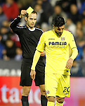 Spanish referee Melero Lopez show yellow card to Villarreal CF's Roberto Soriano during La Liga match. December 3,2016. (ALTERPHOTOS/Acero)