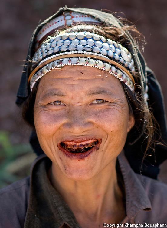 An Akha woman chews betal nuts in Luang Namtha, Laos on Novemeber 9, 2009.   (Photo by Khampha Bouaphanh)