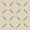 Flower Lattice, a hand-cut stone mosaic, shown in polished Verde Luna, Crema Valencia, Calacatta Tia, tumbled Crema Marfil, honed Montevideo, and Jura Gray. Design is all 1 cm.