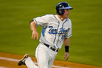Kyle Seager #10 of the North Carolina Tar Heels hustles down the first base line versus the Duke Blue Devils at Durham Bulls Athletic Park May 20, 2009 in Durham, North Carolina.  (Photo by Brian Westerholt / Four Seam Images)