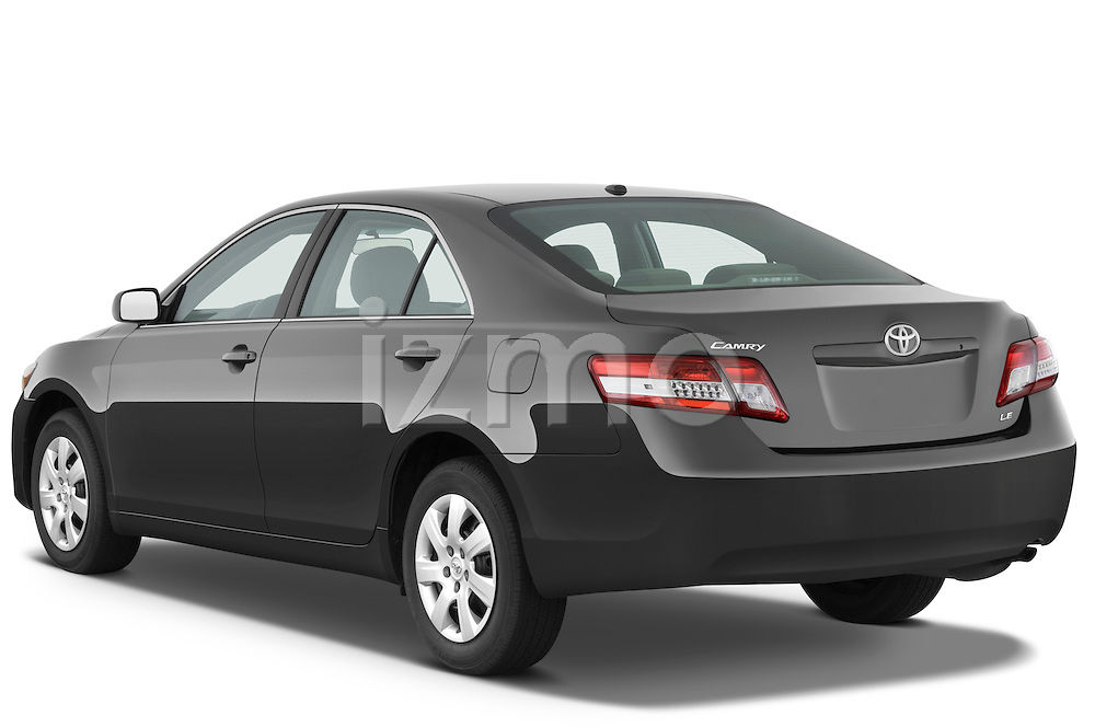 Rear three quarter view of a 2010 Toyota Camry LE