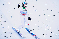 1st January 2020, Olympiaschanze, Garmisch Partenkirchen, Germany, FIS World cup Ski Jumping, 4-Hills competition; Winner Marius Lindvik of Norway reacts after his competition Jump for the Four Hills Tournament